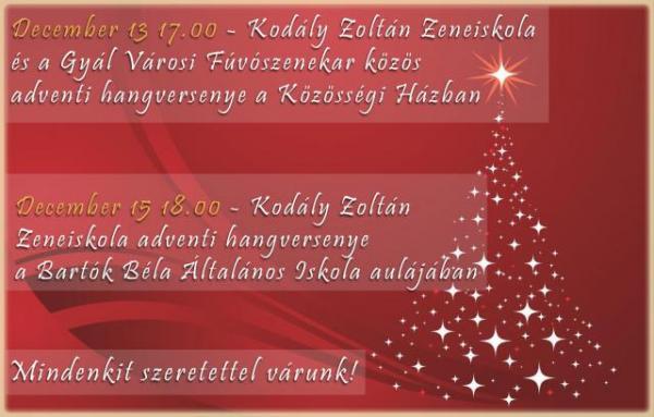 Gyáli Kodály Zoltán AMI, Gyál, hangverseny, advent, karácsony, 2015
