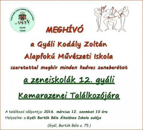 Gyáli Kodály Zoltán AMI, zeneiskola, alapfokú művészeti iskola, kamarazene, találkozó, kistérség, járás, Gyál, Gyál Város,