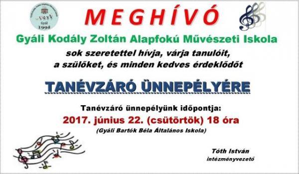 tanévzáró ünnepély, Gyáli Kodály Zoltán Alapfokú Művészeti Iskola, Gyál, Tóth István intézményvezető