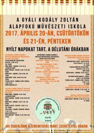 Gyáli Kodály Zoltán AMI, nyílt napok, Gyál, zeneiskola, beiratkozás, nyílt órák