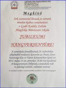 20 éves a Gyáli Kodály Zoltán Alapfokú Művészeti Iskola