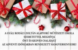 Karácsonyi hangverseny, Gyáli Kodály Zoltán AMI, koncert, Gyál Város, zeneiskola, adventi hangverseny, koncert