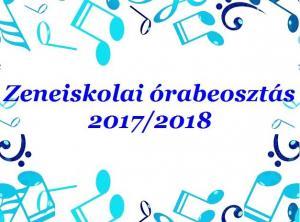 Gyáli Kodály Zoltán AMI, művészeti iskola, Gyál, órabeosztás, 2017/2018. tanév